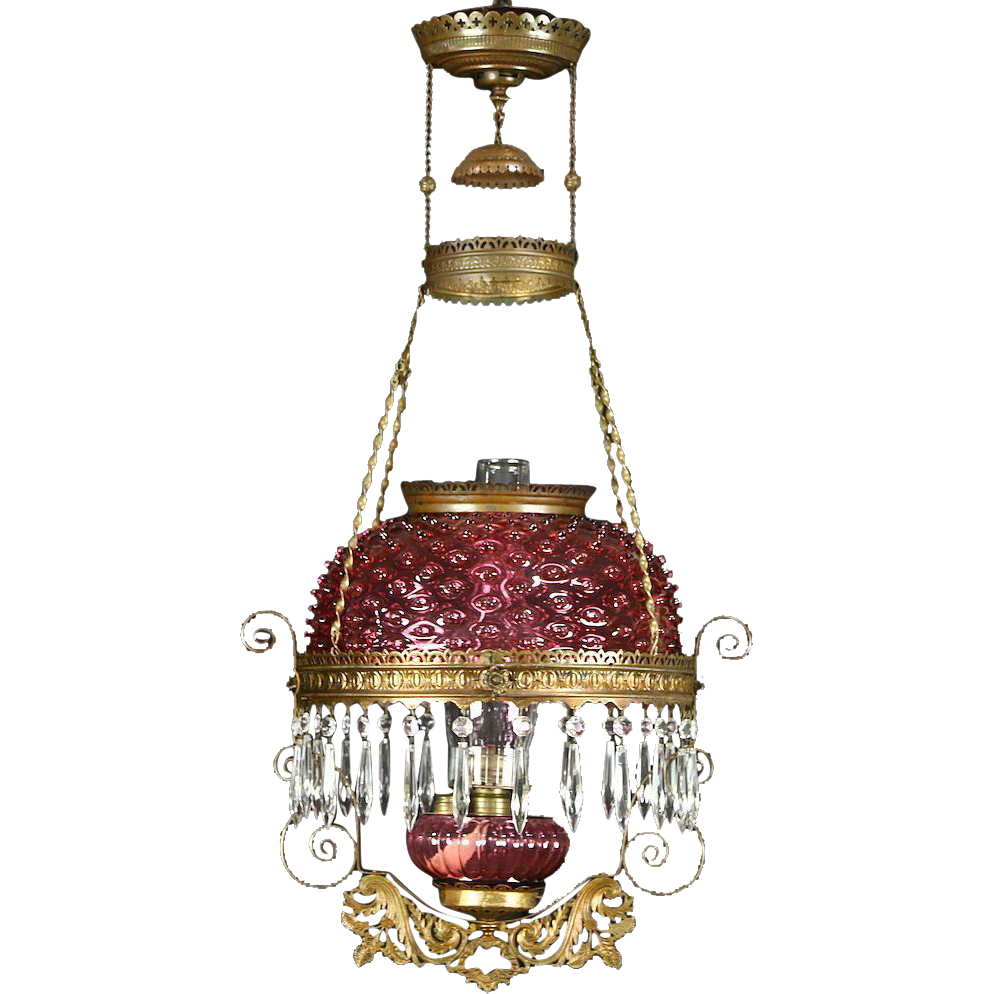 Victorian 1890 Antique Cranberry Hanging Oil Light