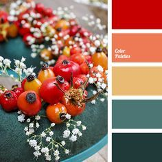 bright red, color of berries, deep red, emerald green, house color selection, interior color schemes, Orange Color Palettes, Red Color Palettes