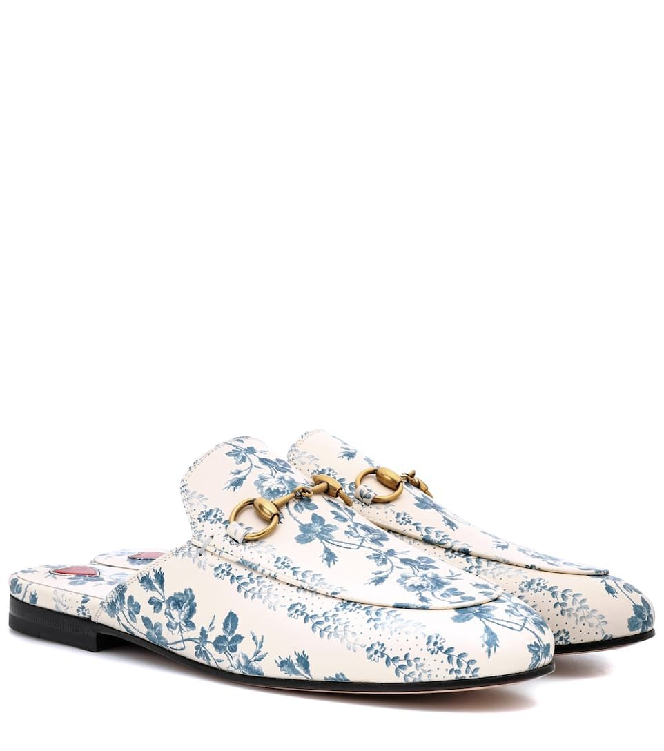 46af1302a2070 Gucci Princetown Rosebud Floral Printed Leather Mule - White