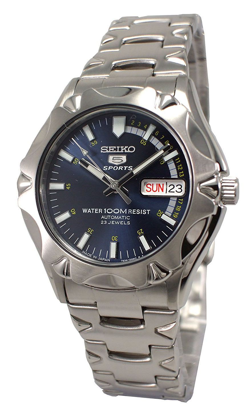 7d53f68ebd8 Seiko 5 Sports Japan SNZ447J1 Men s Stainless Steel Blue Dial Automatic  Watch