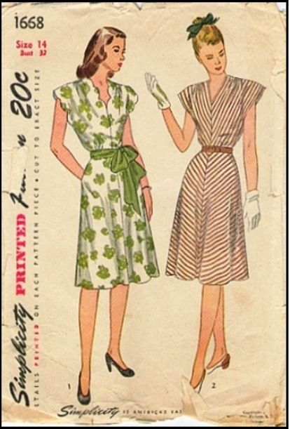 Simplicity #1668 - 1946 Junior Dress with Cap Sleeve Sewing Pattern ...