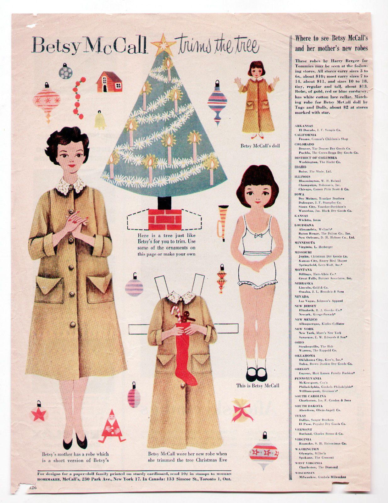 Vintage Betsy Mccall Trims The Christmas Tree Paper Dolls December 1954 Uncut Paper Dolls Vintage Paper Dolls Dolls