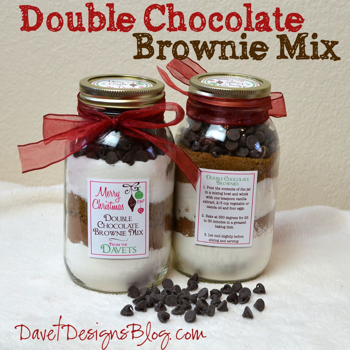 Double chocolate brownie mix in a jar mason jar meals pinterest