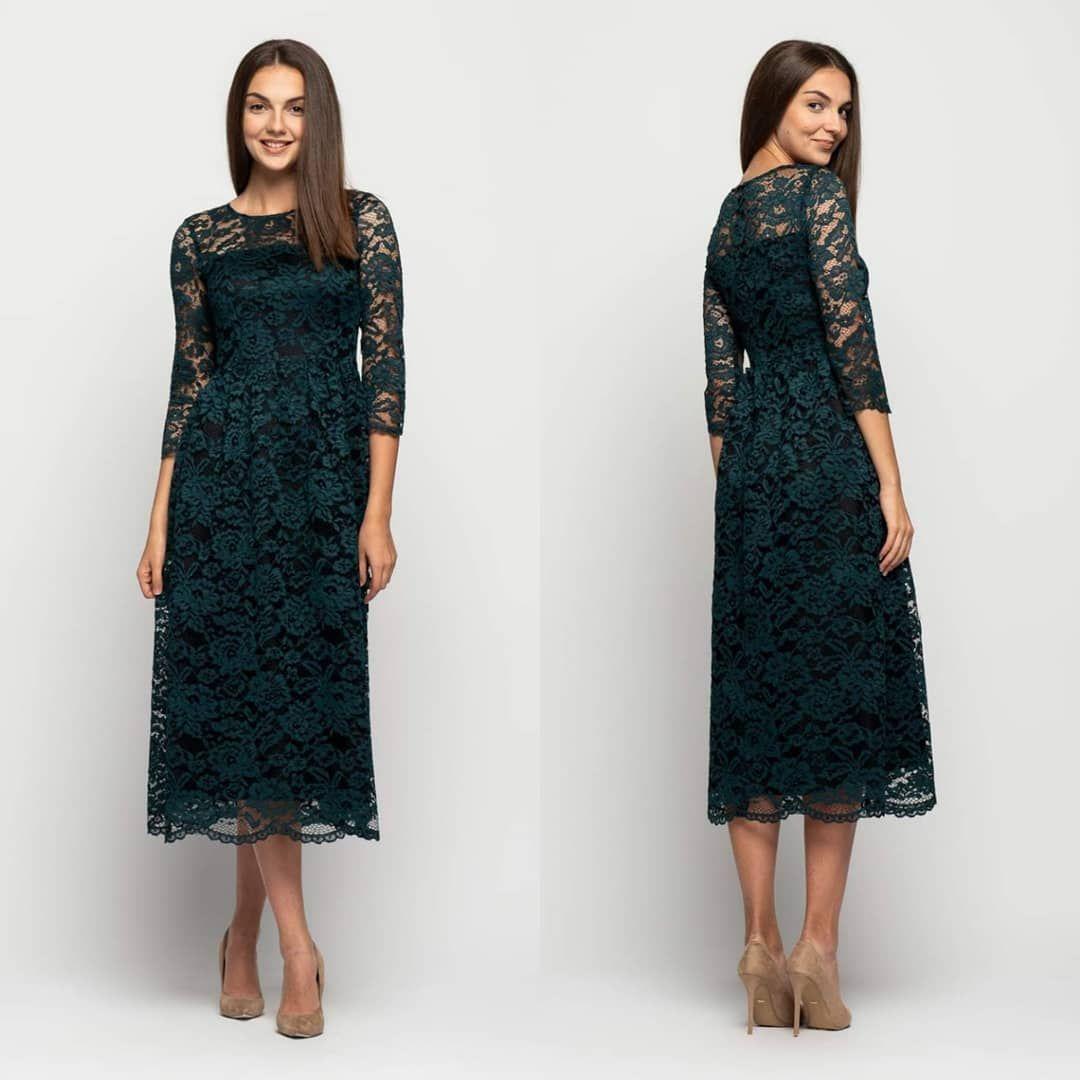Koronkowa Zielona Sukienka Midi Www Bialcon Pl Elegancka Efektowna Sukienka Z Koronki W Kolorze Butelkowej Zieleni Ide Dresses Fashion High Neck Dress