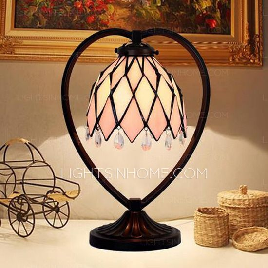 Pink Small Tiffany Table Lamps Alloy Base Stained Glass Shade Tiffany Style Lamp Stained Glass Light Tiffany Table Lamps Small tiffany table lamps