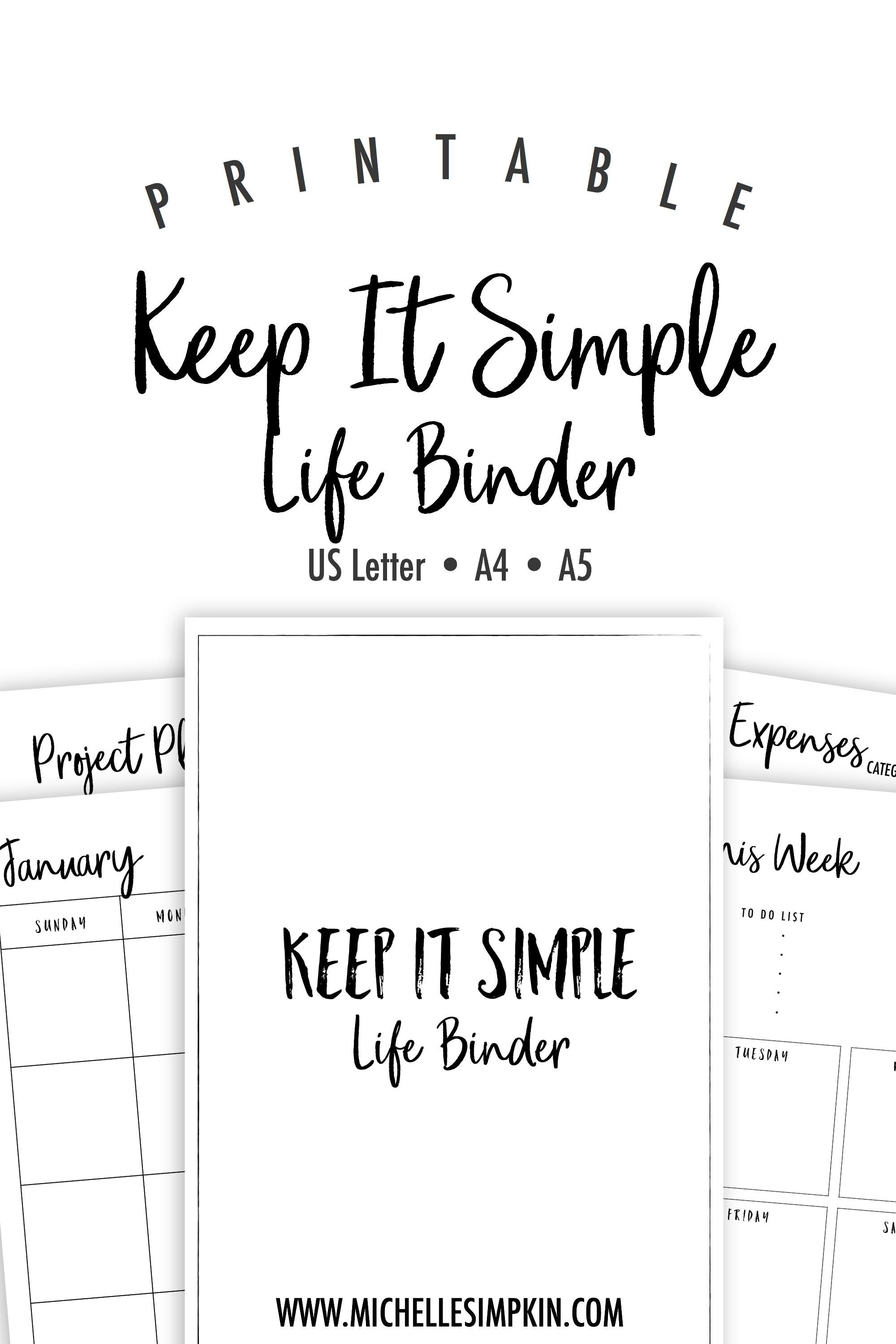 This simple, ink-friendly Life Binder has everything you