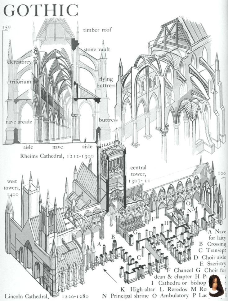 Photo of Die Teile einer gotischen Kathedrale Grafik Geschichte der Architektur von John Mansbrid … – Dress Models