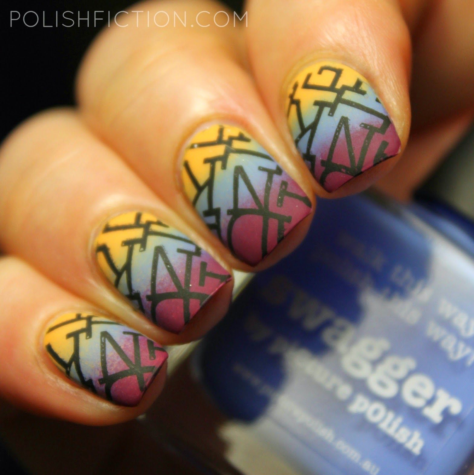 piCture pOlish Urban Shades gradient with stamping