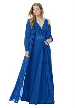 8f25096767c98 Plus Size Long tricot peignoir set