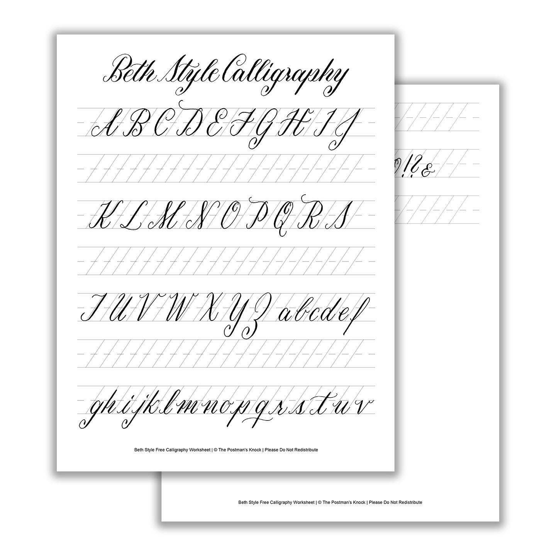 Beth style calligraphy standard worksheet basic