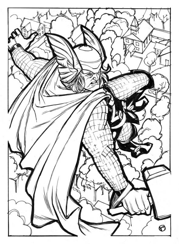 Excellent drawing of Thor superhero coloring pages for boys ...