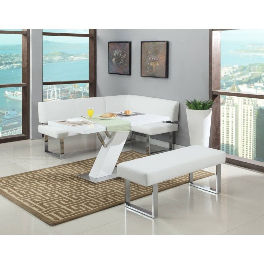 Linden Dining Set With Bench By Chintaly Imports Dining Set With Bench Dining Nook White Wood Table