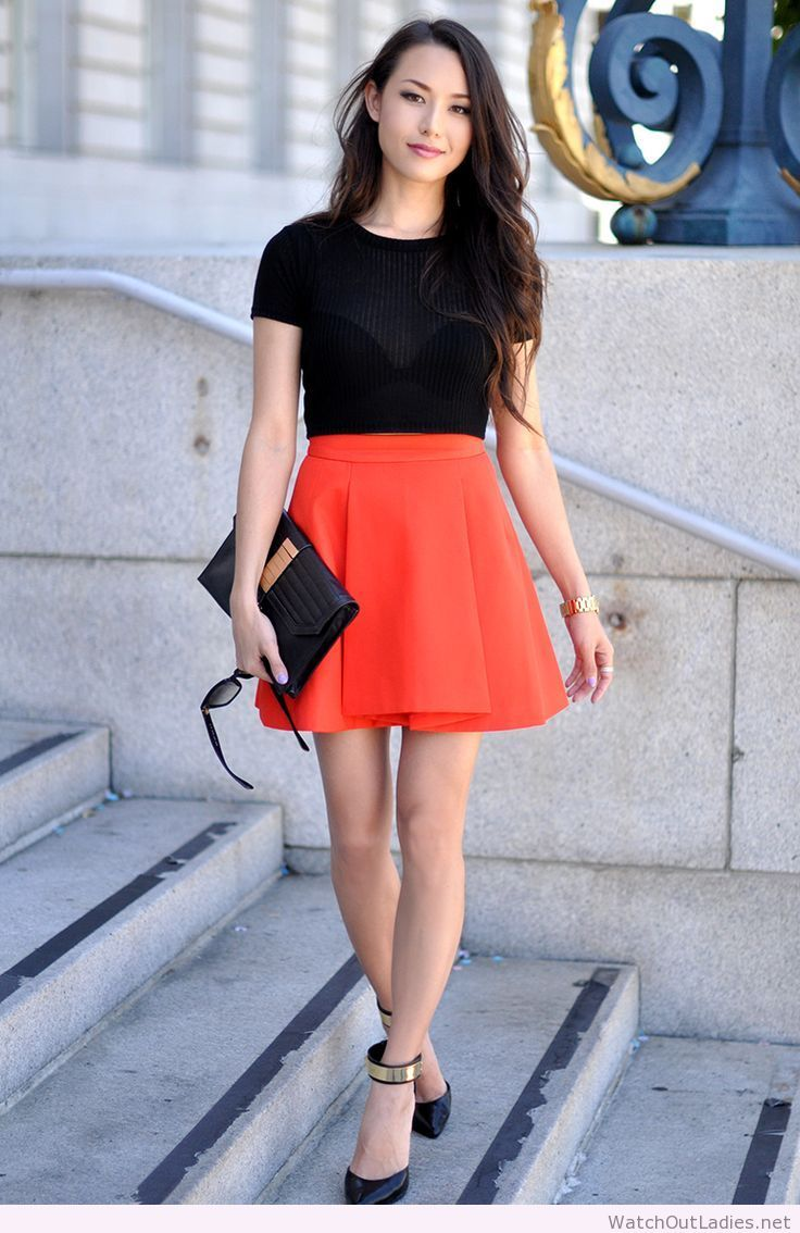 Hapa Time orange skirt and black top | watchoutladies.net ...