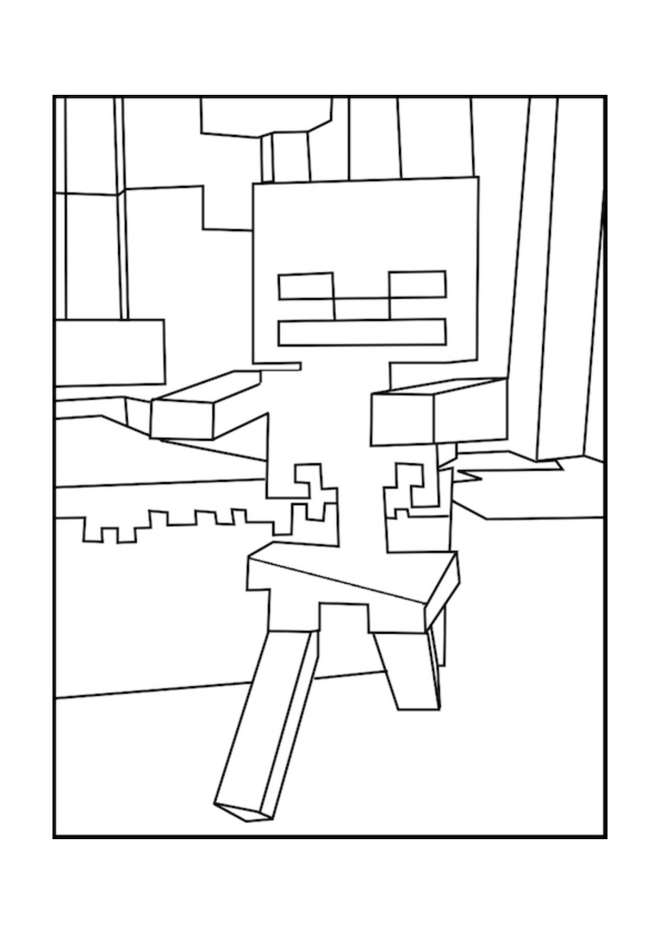 skeleton Minecraft coloring pages, Minecraft, Coloring pages
