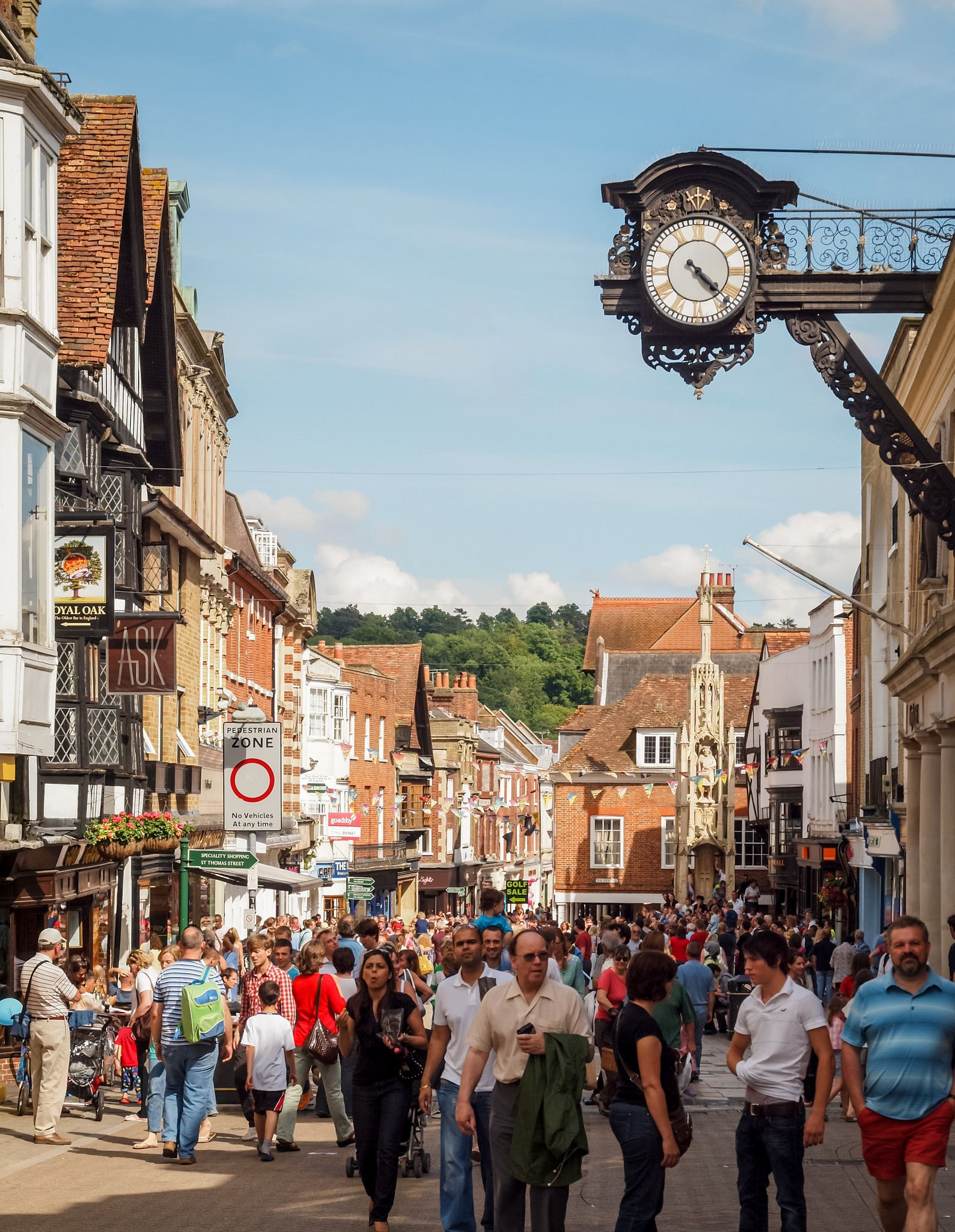 The High Street Of Winchester In Hampshire Hampshire England Ancient Cities Winchester