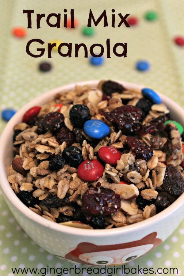 Trail Mix Granola is an easy, healthy snack, whether you're using it to fuel you when you're active, or just when you're out and about. It's full of fruit, chai seeds, flax seed, and dark chocolate...the best of salty and sweet! Click to find out how to make it!