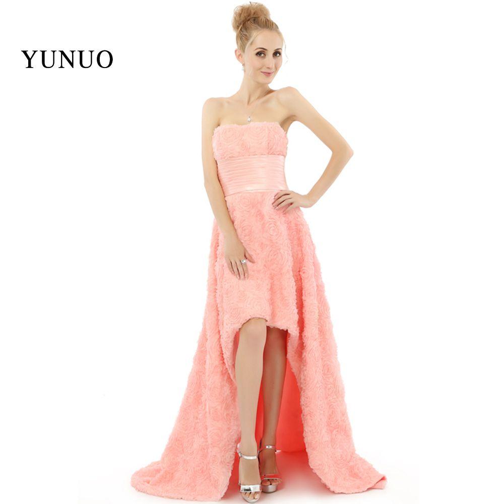 Pink flowers appliques fabric front short long back dress