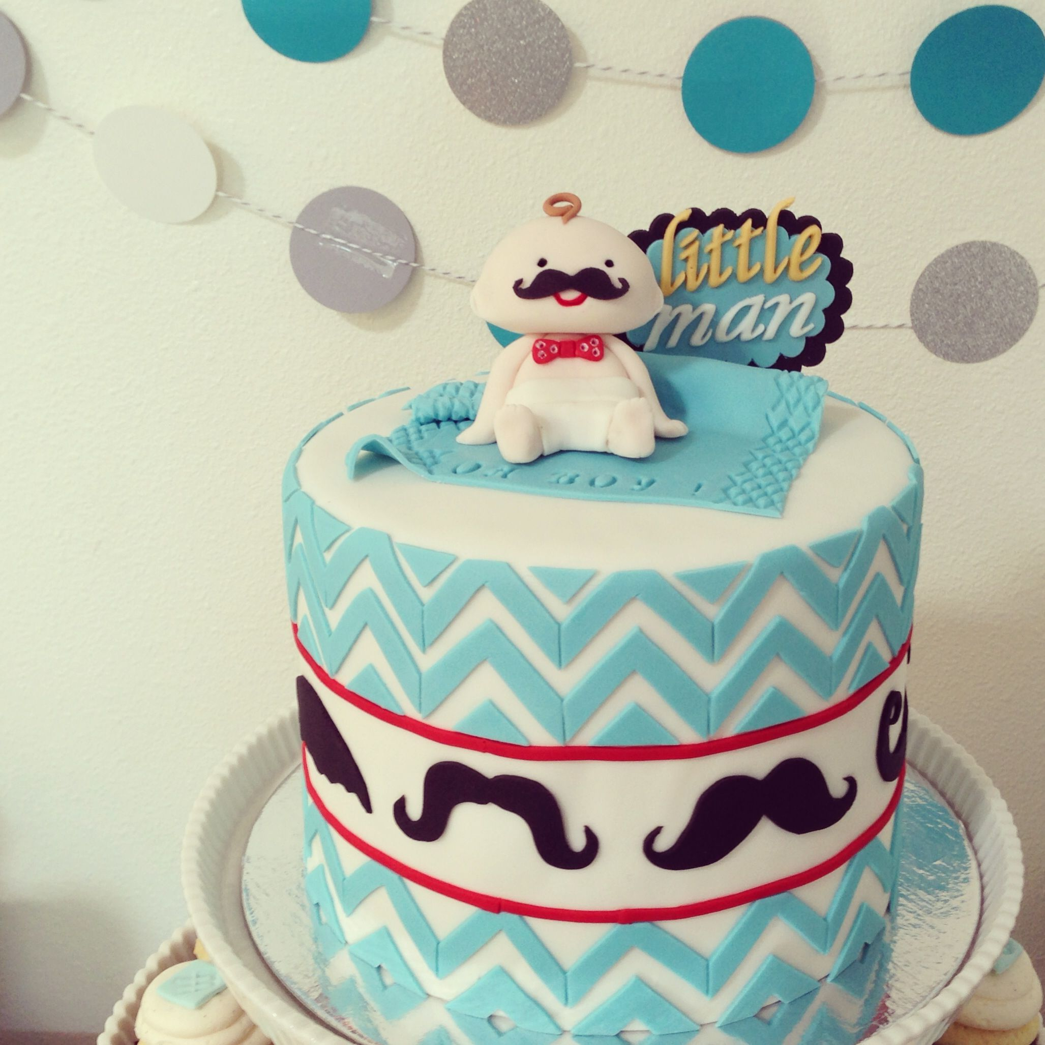 Perfect Lil Man(Mustache) Cake , Mustache Baby Shower Cake, Moustache Baby Shower  Cake , Mustache Baby Shower Cake, Fondant And Buttercream.