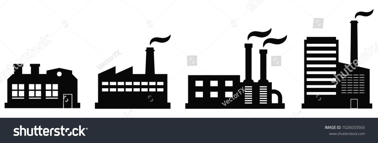 Factory Icon Set Vector Industrial Buildings Pictograms Black Silhouettes Of Manufacturing Objects Isolated On Wh Factory Icon Pictogram Industrial Buildings
