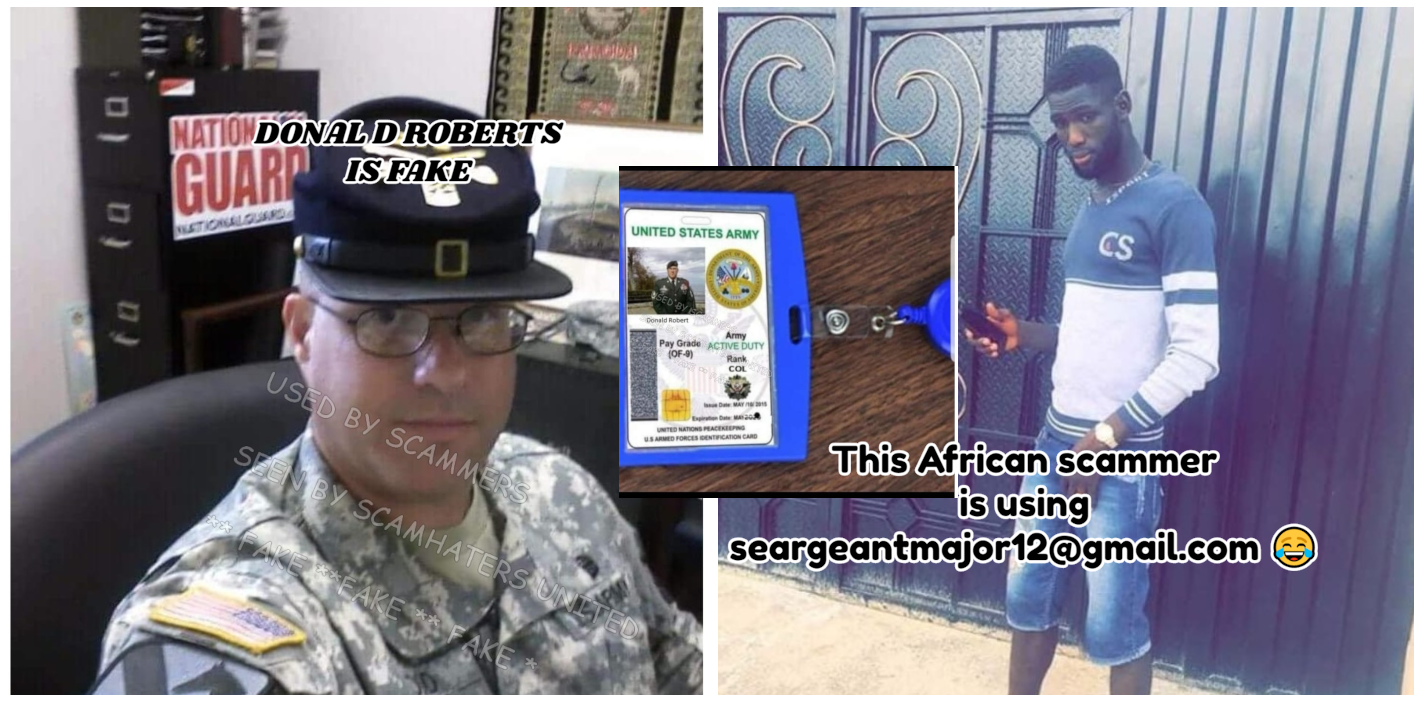 DONALD ROBERT ON HIS ID CARD SAYS COLONEL IN A SERGEANT'S UNIFORM