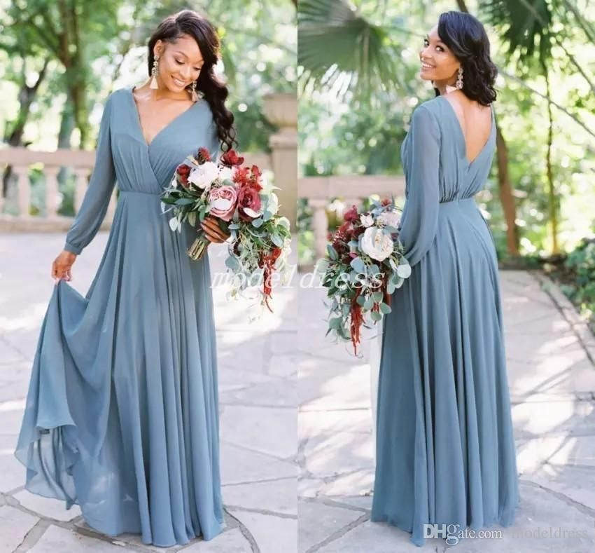 Bohemian Chiffon Bridesmaid Dresses Long Sleeve V Neck Backless Country Beach Garden African Wedding Guest Gowns Maid Of Honor Dress 2019 Light Purple Bridesmai Bridesmaid Dresses Long Chiffon Long Sleeve Bridesmaid