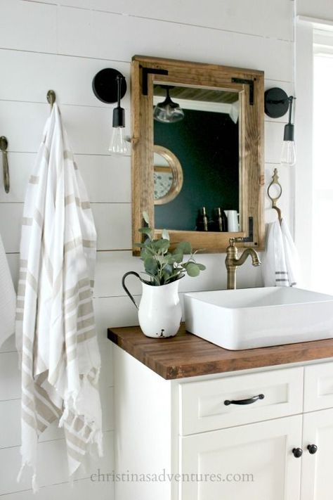 This Vintage Inspired Farmhouse Bathroom Is Filled With Wood Tones Mixed Metals Shiplap Treasures And Lots Of DIY Projects