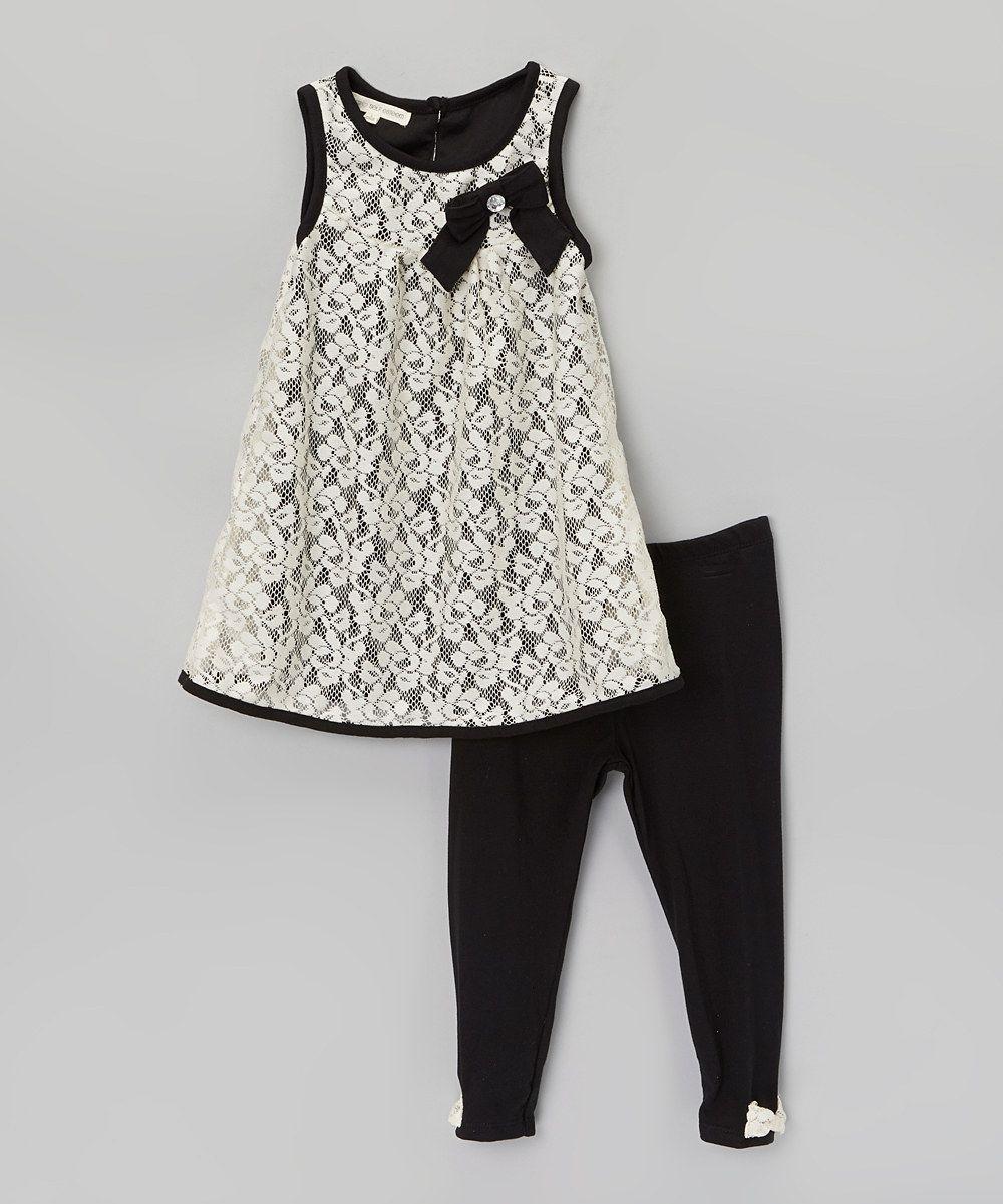 Look at this #zulilyfind! Black & White Lace Bow Tunic & Leggings - Girls by Self Esteem #zulilyfinds