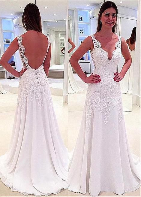 Boho Vestido De Noiva 2019 Wedding Dresses A-line V-neck Chiffon Appliques  Lace Backless Beach Dubai Arabic Wedding Gown Bridal 60b43f696990