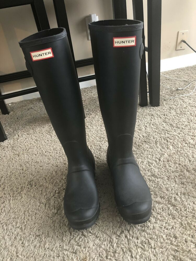 Hunter Tall Rain Boots Size 8 Fashion Clothing Shoes
