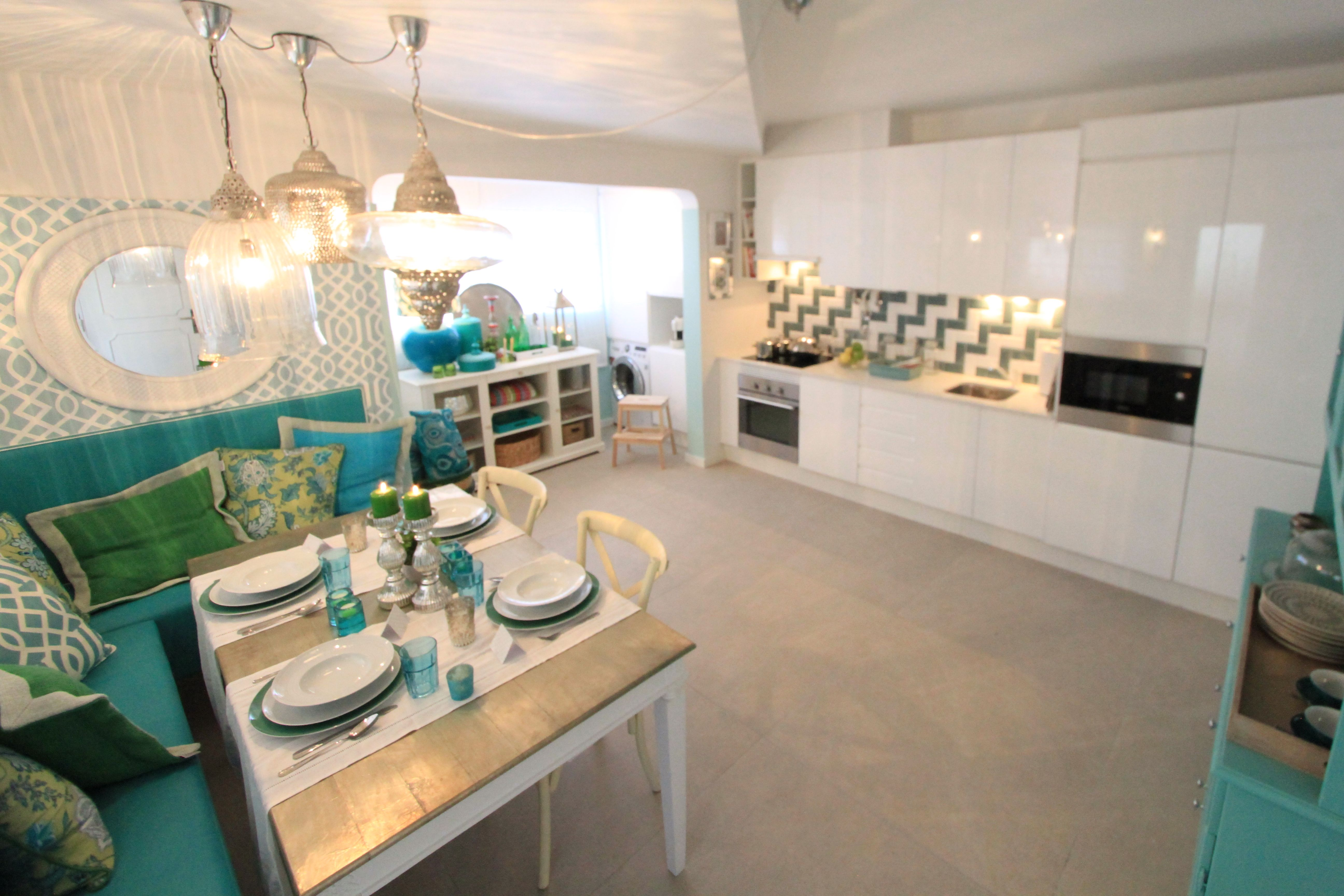 Morocan inspired kitchen project by ana antunes for house makeover show turquoise green