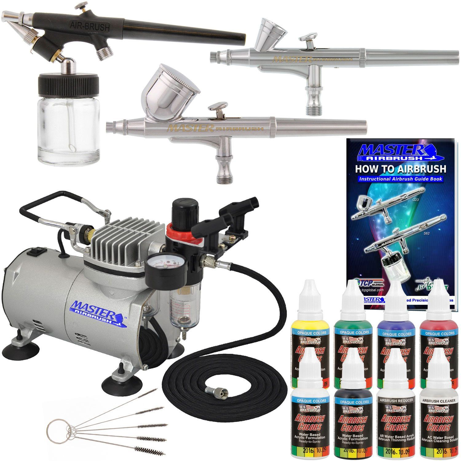 New 3 Airbrush Kit 6 Primary Colors Air Compressor Dual