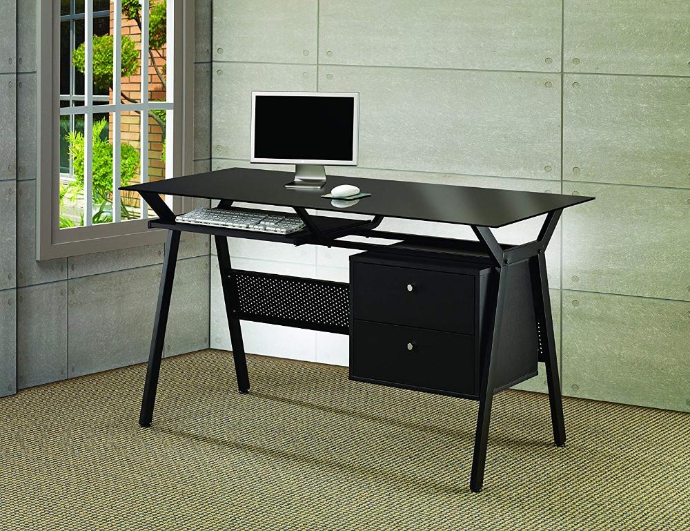 Amazon Com Computer Desk With Two Storage Drawers Black Gateway