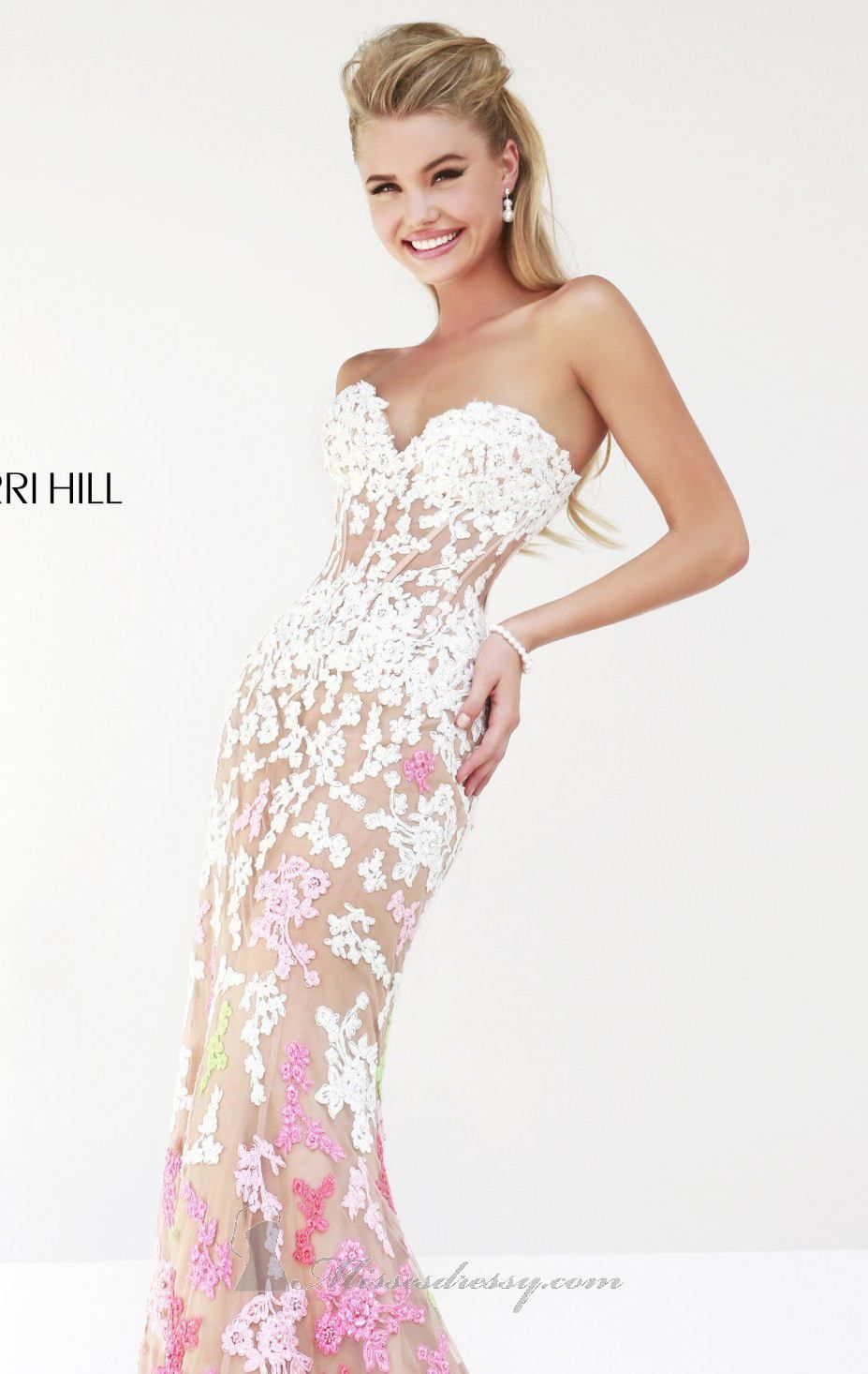 Sheer embellished gown by sherri hill dresses pinterest gowns