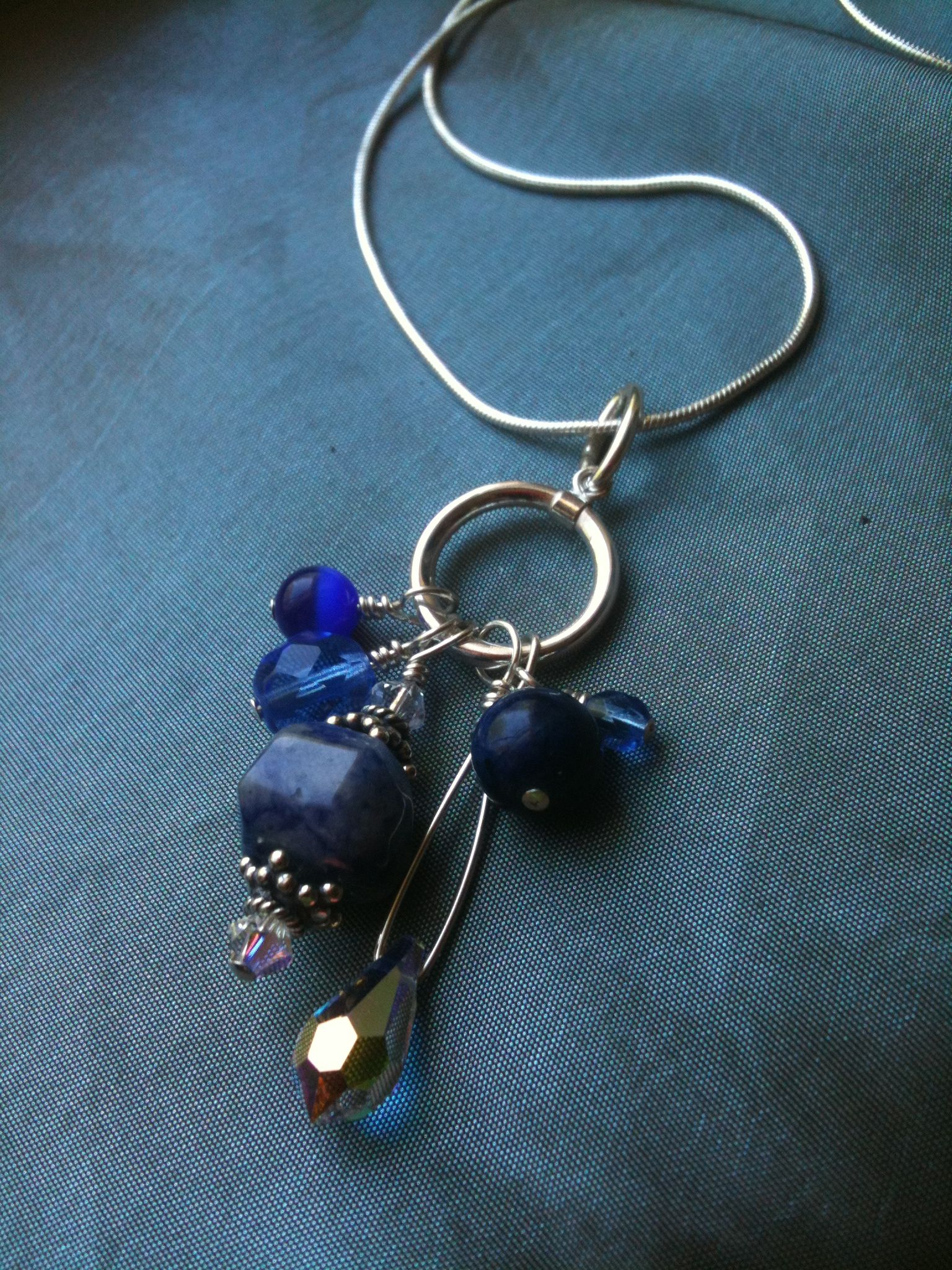 Lapis Swarovski Crystal sterling silver wire-wrapped charm necklace ...