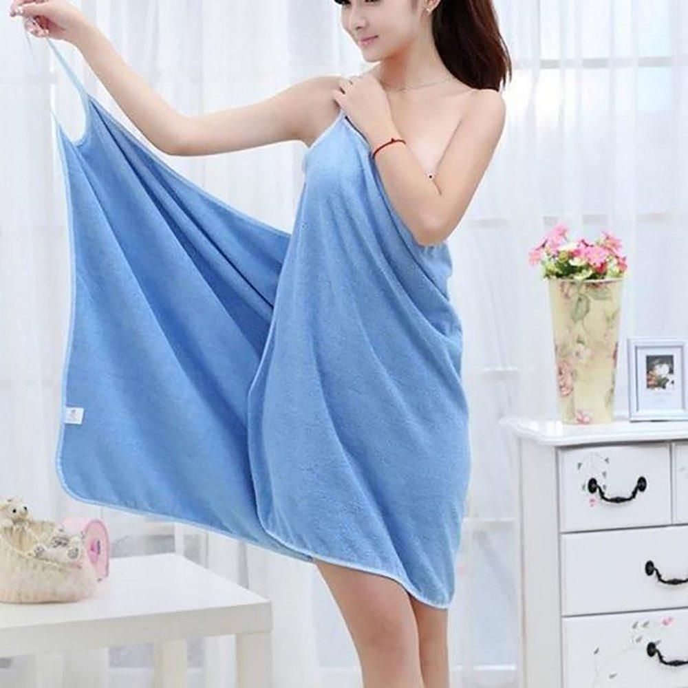 2a16da5697 Bath Towel Lady Girl Wearable Fast Drying Magic Beach Spa Bathrobes Skirt  Blue