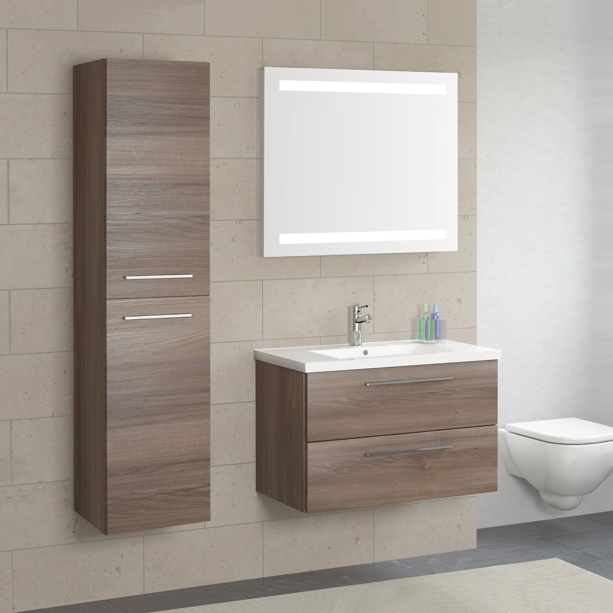 Seville Two Drawer Wall Hung Vanity Unit Basin Walnut 800 Washbasin Design Wall Hung Vanity Bathroom Interior Design