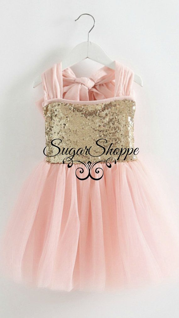 Blush Gold Sequin Dress, Big Bow, Tulle, Flower Girl, First Birthday ...