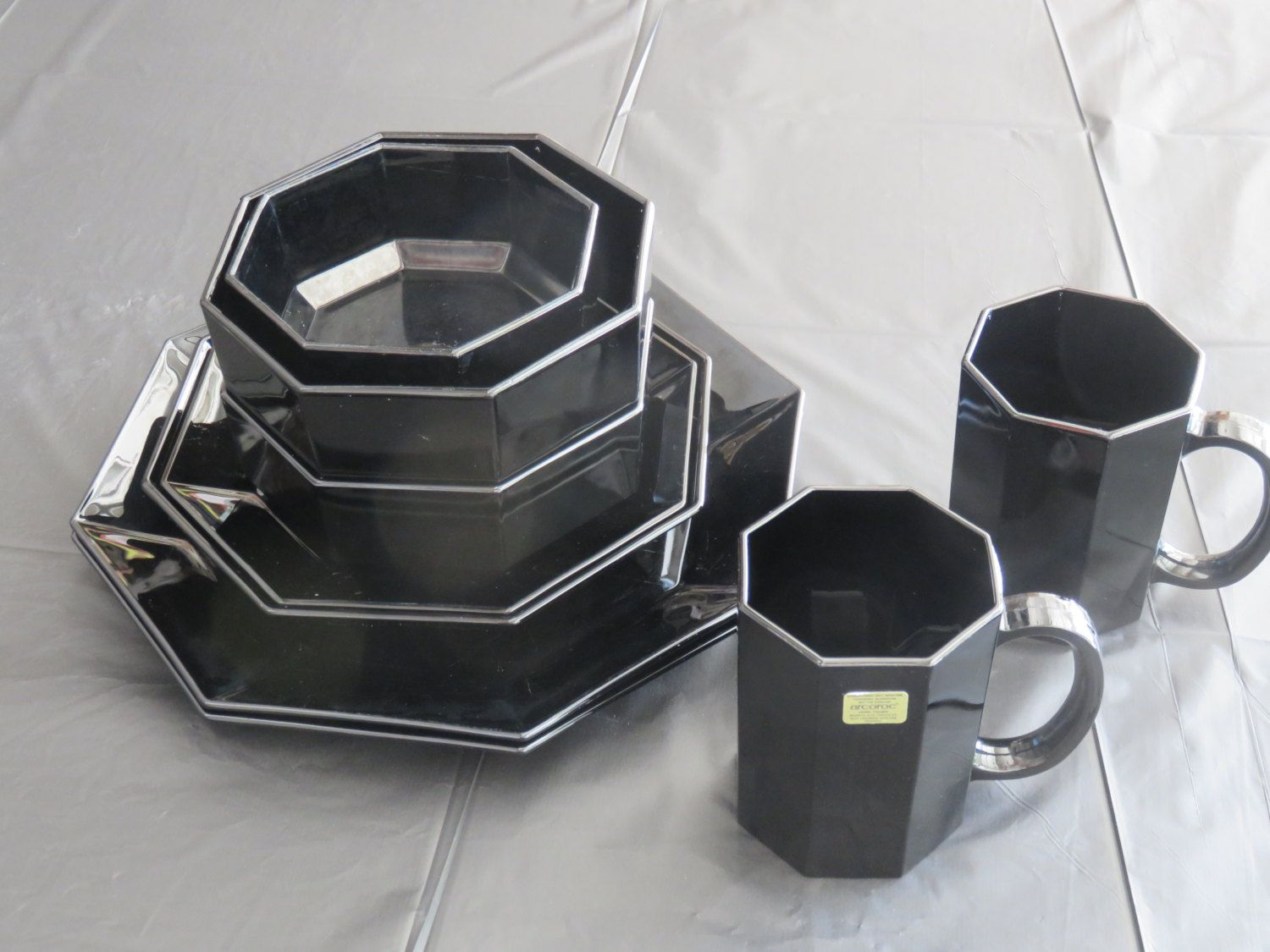 Vintage Black Arcoroc Octime Dinner for Two Set by Arcopol by ...