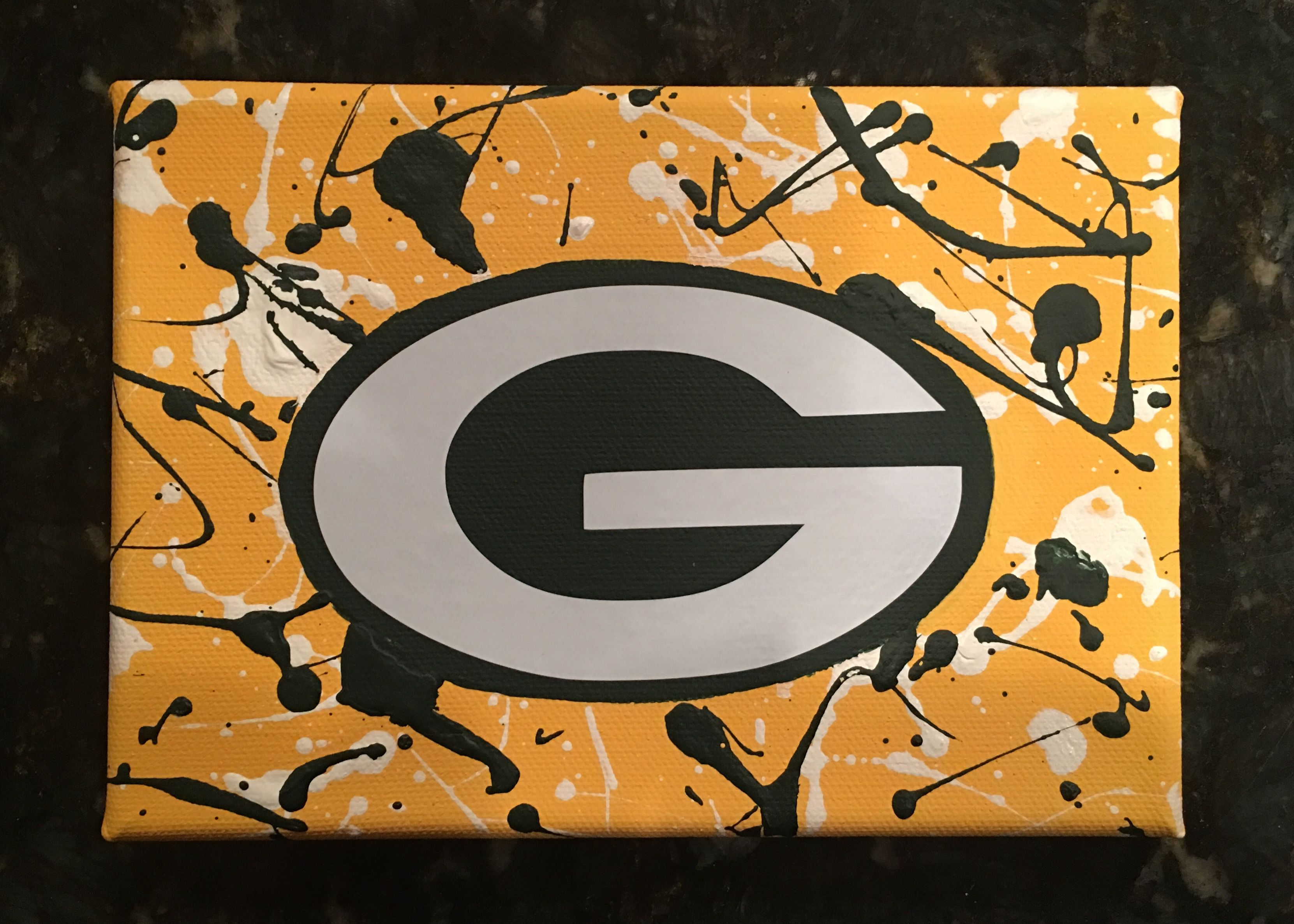 Purple Rose Designs Green Bay Packers Logo 2016 Christmas Gift For Dad Handmade Mixed Media Canvas In 2020 Canvas Painting Diy Green Bay Packers Logo Triptych Art