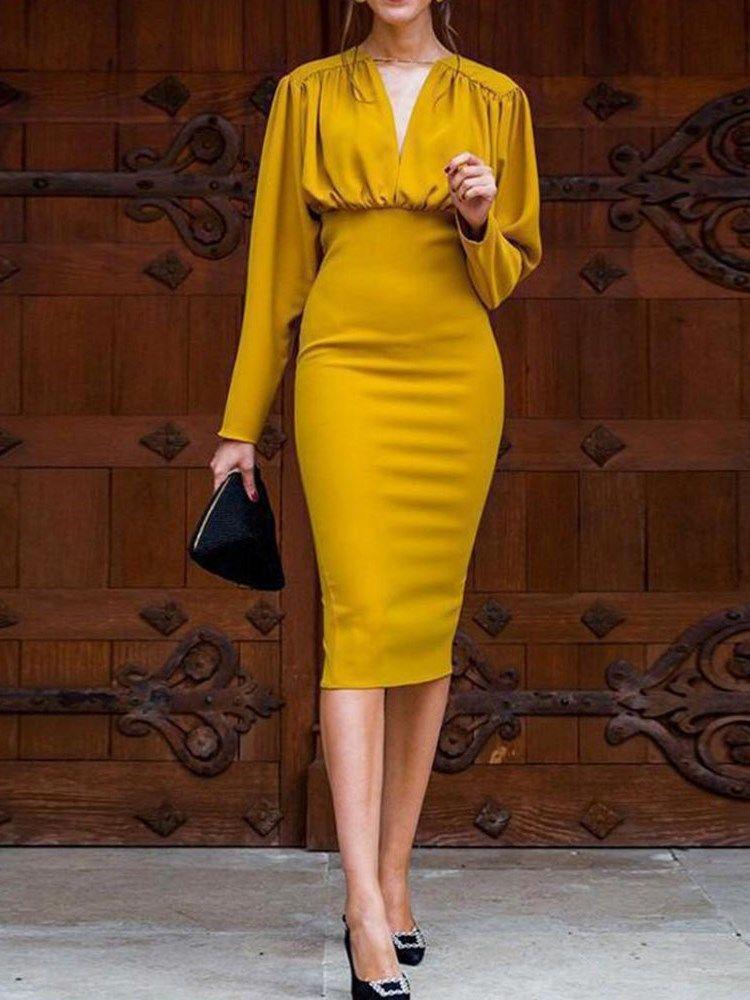New Ladies Women Long Sleeve Plain Choker V Neck Body-con Midi Party Dress