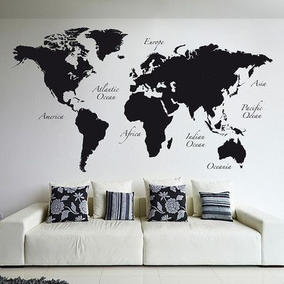World map wall decal products home decor line black world map wall decal display a modern view of the world with this contemporary home decor line black world map wall decal set gumiabroncs Image collections
