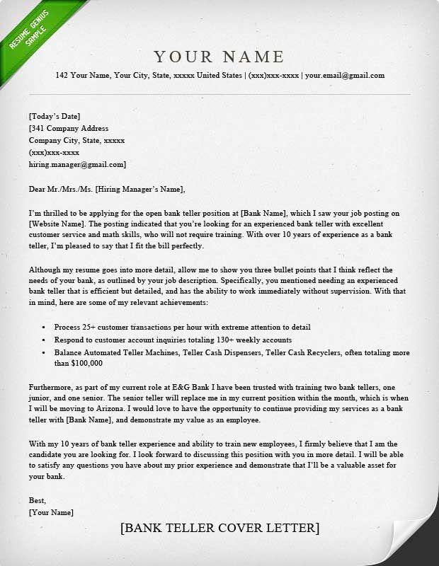 Cover Letter Template Banking | Sample resume cover letter ...