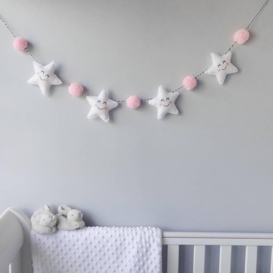 Star garland with honeycomb pom poms kinderzimmer babyzimmer und kinderzimmer deko - Pompoms kinderzimmer ...