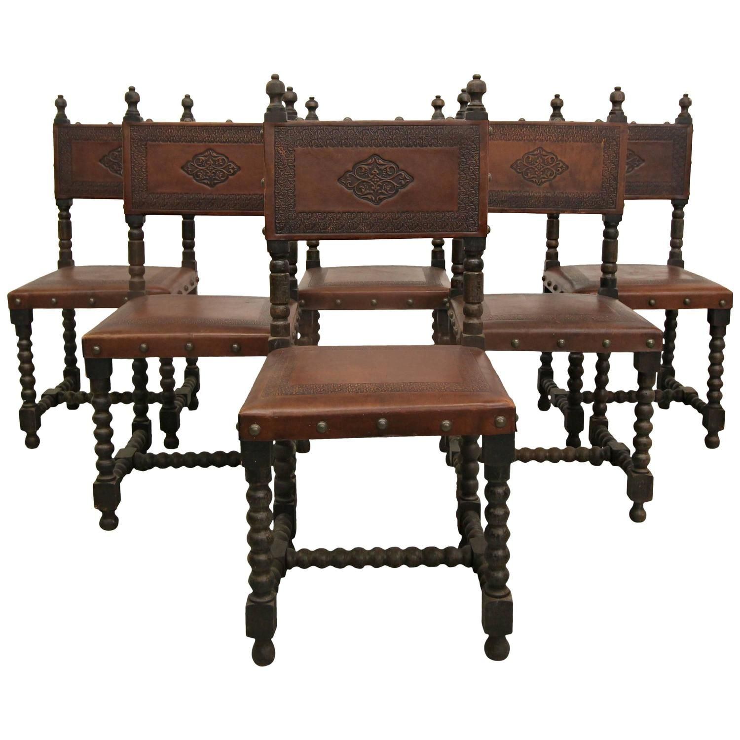Shop Spanish Colonial seating at the world's largest source of Spanish  Colonial and other authentic period furniture. - Set Of Six Antique Spanish Colonial Stamped Leather Dining Chairs