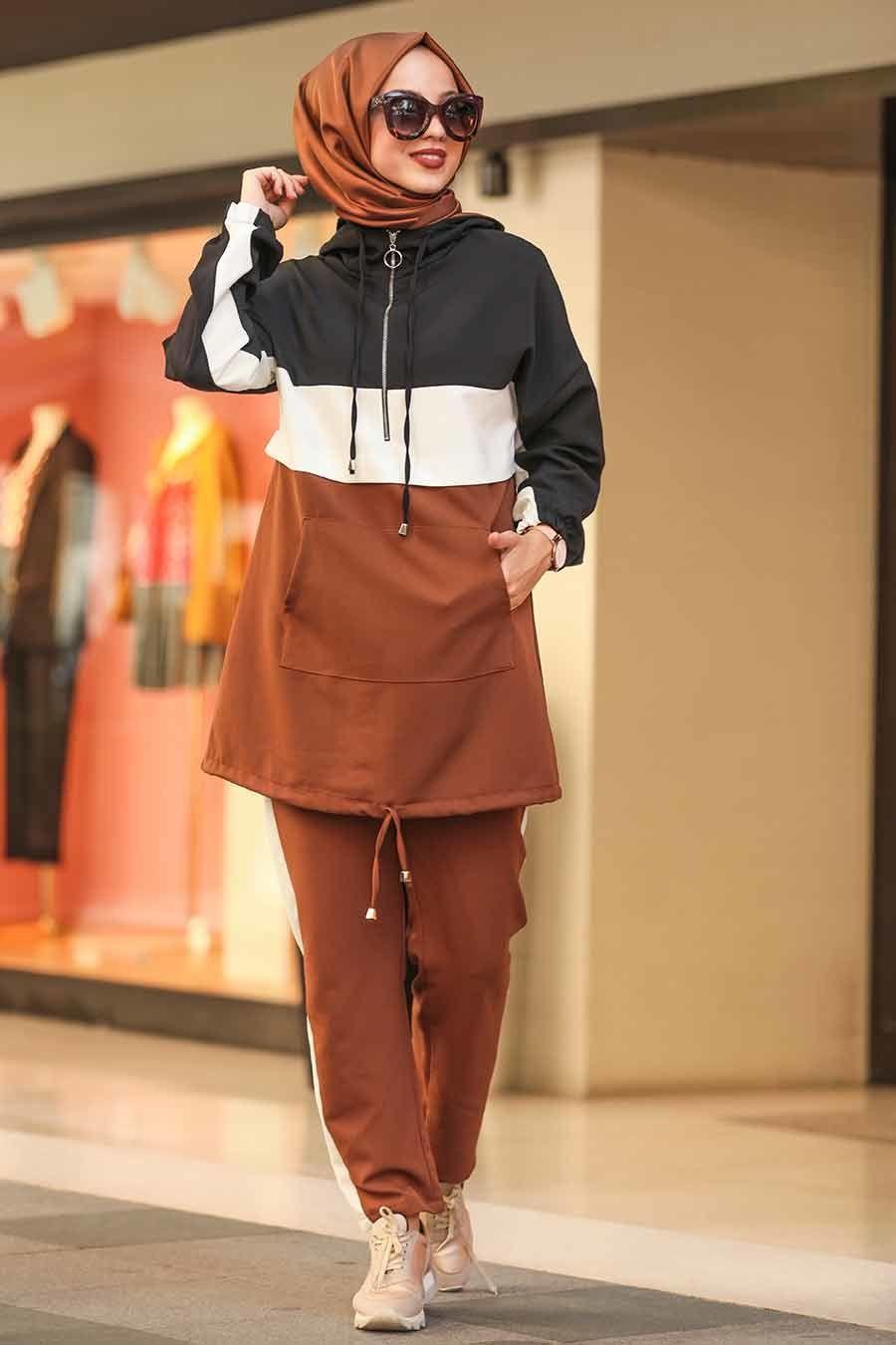Neva Style Kapsonlu Kahverengi Tesettur Spor Takim 10012kh Tesetturisland Com Islami Moda Spor Giyim Kapsonlular