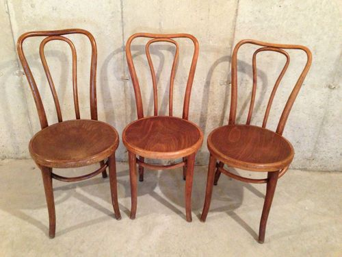 Antique Oak Bentwood Chair Thonet Style Ice Cream Parlor Chair