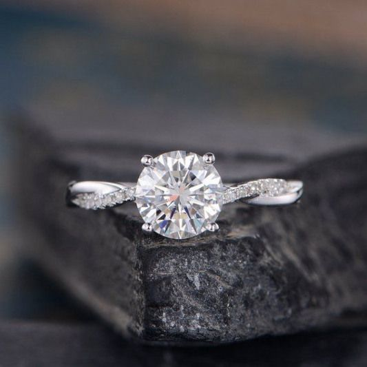 White Gold Moissanite Engagement Ring Twist Infinity Solitaire Diamond Half Eternity Ring Bridal Women Promise Ring Anniversary 7mm Round ITEM INFORMATION Metal Type  Solid 14k White Gold Band Width  (approx. 2.3mm) Center Stone  7mm Moissanite Round Cut Clarity  VVS Color  D-E-F Side
