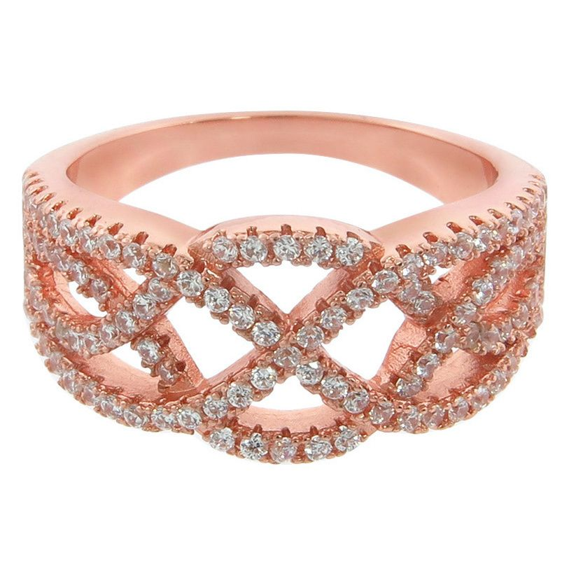 Eternally Haute 14K Gold-plated Pave Twist Ring (14K Rose Gold, size 10), Women's, Pink