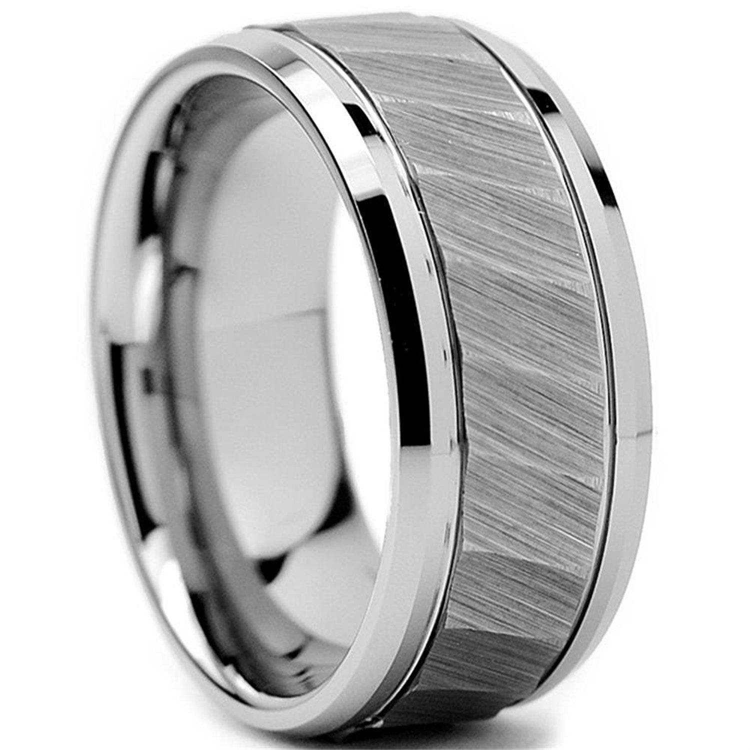 king will 8mm mens tungsten ring square hammered twilled brushed