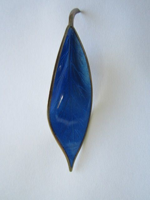 Vintage NORWAY Sterling Silver on Blue Enamel Pin / Brooch